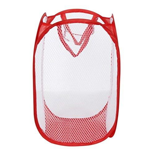 Red Nylon Mesh Clothes Basket BagsTosangn Foldable Pop Up Washing Laundry Basket Bag Hamper Mesh Storage Pueple Red