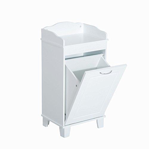 Bathroom Hamper Wood Laundry Tilt Out Basket Storage Bench Furniture Cabinet