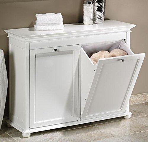 Hampton Bay 35 Inch White Double Tilt Out Bathroom Hamper 27Hx35Wx13D WHITE