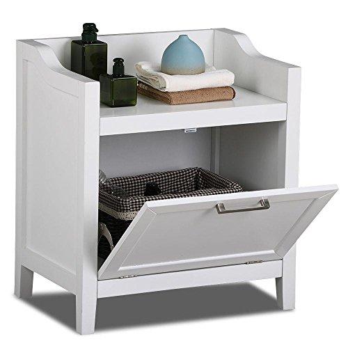 Topeakmart White Bathroom Floor Cabinet Pull Down Door Storage Cupboards Bench Free Standing Laundry Hamper