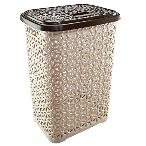 Uniware 60 LT Hollow Design Clothes Hamper Laundry Basket Made in TurkeyWhiteBeige 1 BeigeBrown