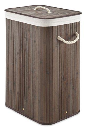 Whitmor Laundry Hamper with Rope Handles Bamboo 1225x1625x23375 Dark Stain