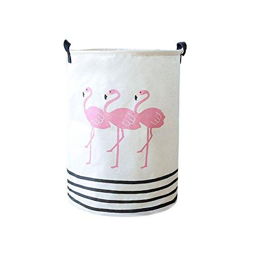 Opla3ofx Handles Laundry Clothes Storage Bucket Basket Organizer Portable Flamingo Cotton Linen Laundry Basket Dirty Clothes Storage Washing Bag White