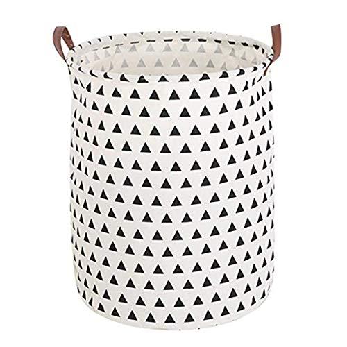 iHHAPY Clothes Storage BasketCotton Linen Laundry Basket Laundry Bucket Dirty Clothes Hamper Storage Barrel Bin A