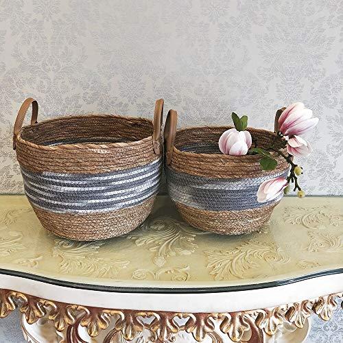 MMM HOME Handcrafted Seagrass Handlebar Storage Basket Family Bathroom Laundry Basket Corn Husk Storage Bucket 两件套