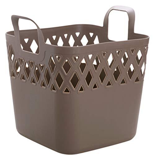 MXD Storage Basket Square Hamper Household Bathroom Laundry Basket Plastic Clothing Storage Basket Brown