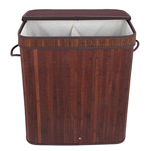 100L Bin Organizer Trashcan Lid Bamboo Laundry Hamper Basket Wicker Clothes Storage Bag Sorter papelera