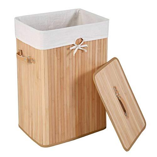 Cypress Shop Rectangular Bamboo Laundry Hamper Sorter Square Basket Clothes Storage Washing Garment Organizer Bag Cloth Bin with Lid Home Furniture