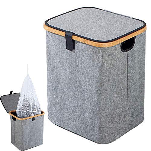 Encozy Sturdy Bamboo Laundry HamperLaundry BasketFoldable Oxford Cloth Hamper with lidGray