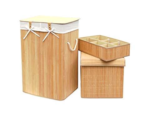 FixtureDisplays Set of 3 Laundry Hampers Bamboo Square Wicker Clothes Bin Baskets Storage Bin Organizers Retail Dump Bin 100205-NF