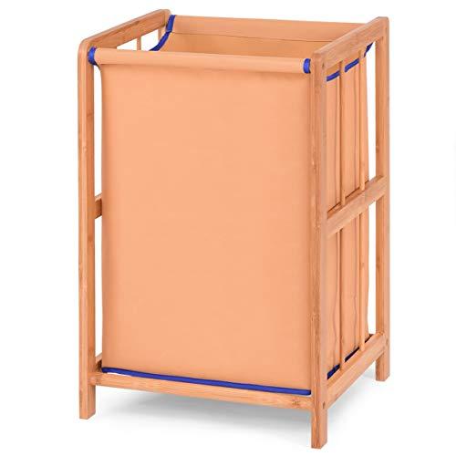 Giantex Laundry Hamper Bamboo Frame Durable Cloth Bag Sorter Storage Basket Bin Orange