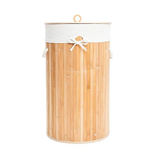 Maogear Folding Cylinder Bamboo Laundry Hamper Basket Dirty Clothes Storage Sorter with Lid Handles Removable Liner Wood Color