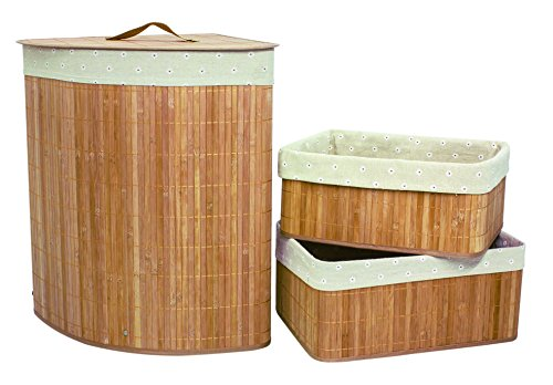 Set of 3 Laundry Hampers Bamboo Corner Wicker Clothes Bin Baskets Storage Bin Organizers Retail Dump Bin 100206