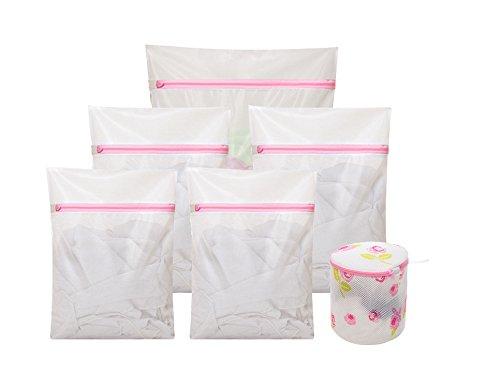 Set of 6 Mesh Laundry Wash Bags 1 Extra Large 2 Large 2 Medium 1 Bras Bag for Washing Machine Delicates Durable Net Organizer Travel for BraKids ClothesLingerie Red ZippedWhite
