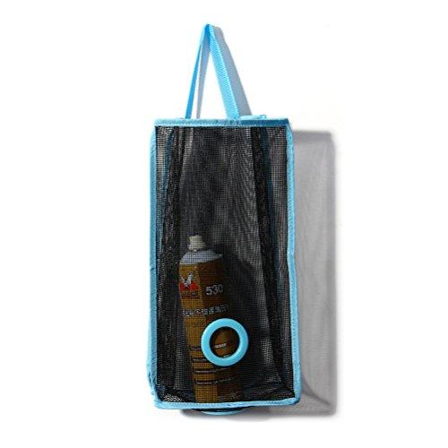 Tinksky Door-Hanging Laundry Hamper Folding Grocery Bag Storage Organizer for Kitchen Bathroom Blue