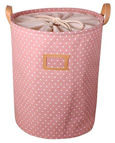 BleuMoo Waterproof Cotton Linen Storage Bag Washing Clothes Laundry Basket Hamper Sorter Pink