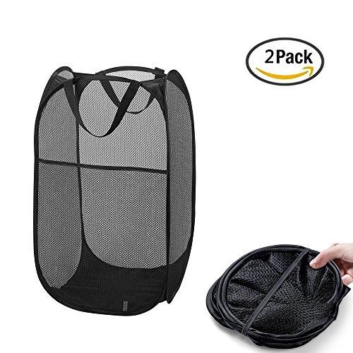 SoEasy 2 Pack Mesh Pop-Up Square Laundry Hamper Basket with Side Pocket Black