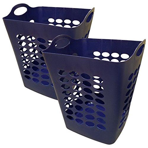 Starplast Flexible Square Laundry Hamper Baskets - Navy Blue 2 Pack