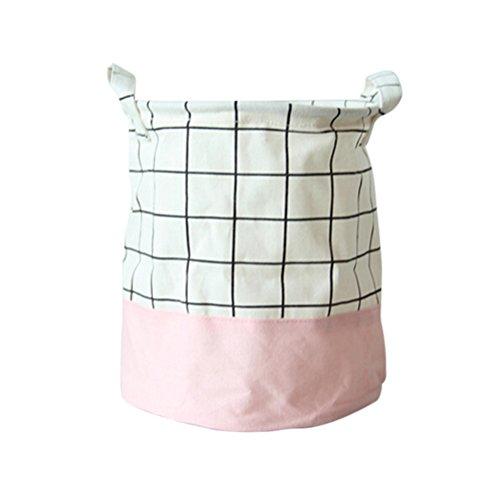 OUNONA Laundry Basket Foldable Laundry Hamper Bag Bin Kids Toy Storage Basket Pink Grid