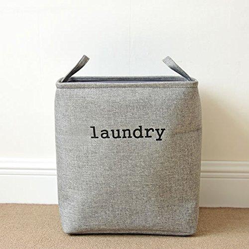 Yiliag Fashion Rectangle Laundry Hamper Basket Toy Storage Box Clothes Laundry Bag With Handles-Gray