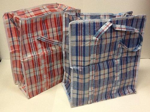 Set of 3 SUPER GIANT JUMBO LaundryStorageTransportDormRoom Checker Shopping Bags with Zipper Handles Size27H x 31L x 7W Colors Vary between BlueRedBlackWhite Check Design
