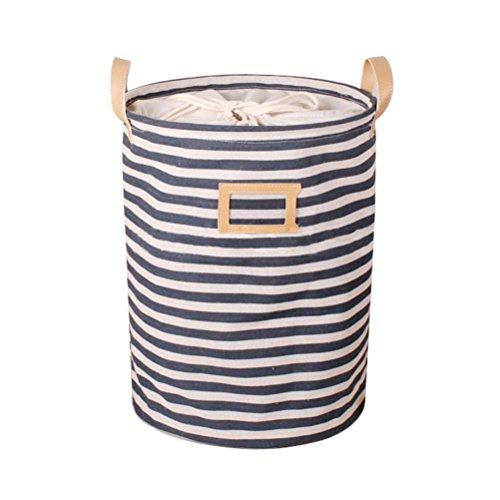 Fieans Foldable Round Laundry Basket Hamper Closet Storage Bin Bag 3545cm Laundry Hamper-Blue Stripe