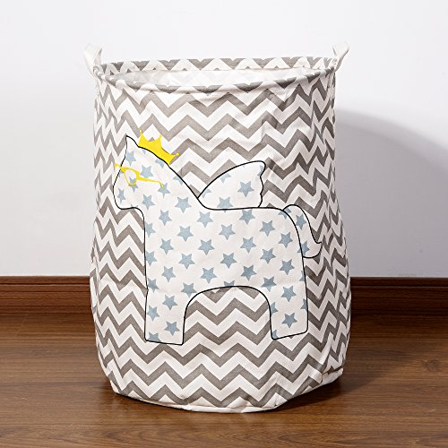 ChezMax Large Size Foldable Waterproof Coating Cotton Linen Pattern Print Cylindric Laundry Hamper Bucket Storage Basket with Handles