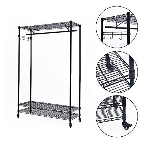 GHP 3-tier Black Rolling Garment Storage Rack Wire Clothing Shelf Organizer