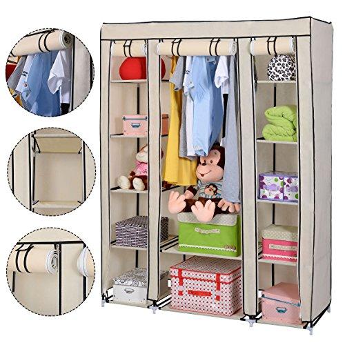 Beige Portable Closet Storage Organizer Wardrobe Clothes Rack Shelf  New free shipping