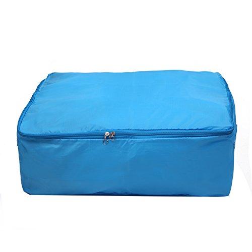 Clothes Blanket Quilt Closet Sweater Organizer Box Foldable Storage Bag - Blue M