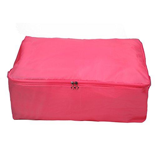 Clothes Blanket Quilt Closet Sweater Organizer Box Foldable Storage Bag - Pink L