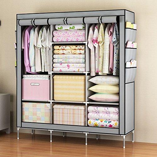 Mingshop Portable Clothes Closet Wardrobe Non-woven Fabric Storage Organizer with Shelves gray