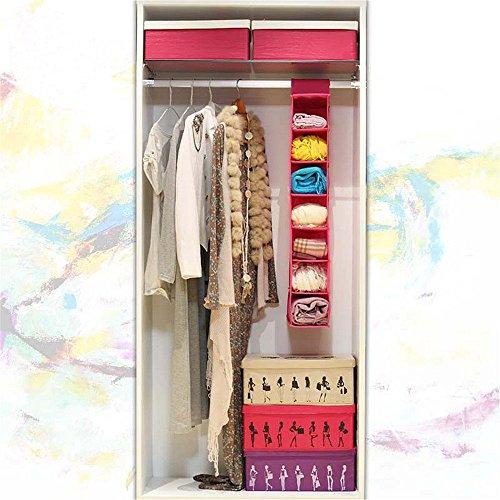 Saumota Large Capacity 7 Layer Non-woven Fabrics Hanging Closet Organizer Clothes Hanging Storage Closet System Shelves-Pink