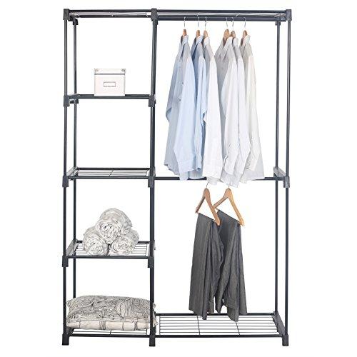WOLTU Durable Rolling Hanging Bar Double Rod Clothing Garment Shoe Racks for Clothes Storage Closet Black