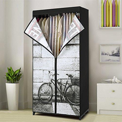 iKayaa Portable Clothes Wardrobe Non-Woven Fabric Closet Storage Organizer Clothing Hanger Rack