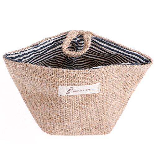 BCHZ Cotton Linen Laundry Hamper Bag Washing Clothes Organizer Basket Bin Storage Blue Stripe
