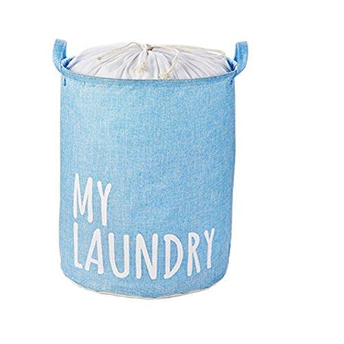 Cotton Linen Laundry Hamper Foldable with Lid Laundry Basket Hamper for Laundry Round Storage Basket for Nursery Toys Clothing light blue