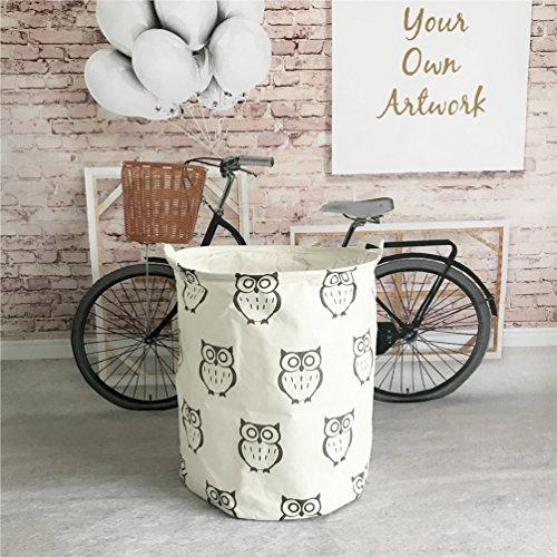 Yiuswoy Foldable Cotton Linen Laundry Hamper Washing Clothing Bags Kids Toys Organiser Storage Basket Large Storage Bin - Owl