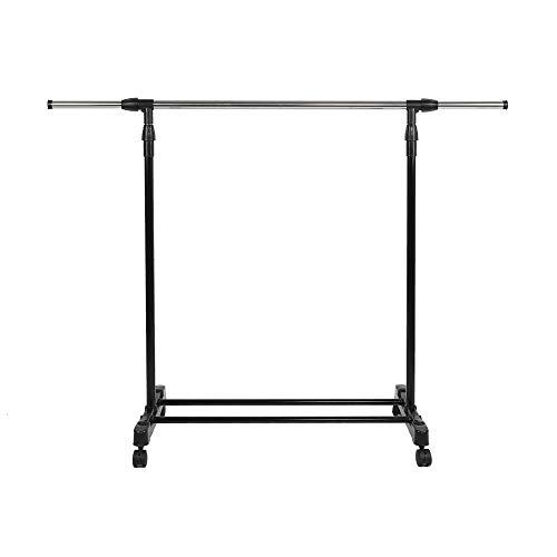 BAIYING Stainless Steel Adjustable Clothes Hanging Storage RackAssembled Detachable Garment Storage Rack with Plastic Bottom Shelves