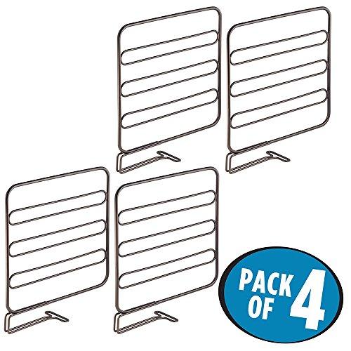 mDesign Wire Shelf Divider Closet Organizer for Clothing Storage - Pack of 4 Bronze
