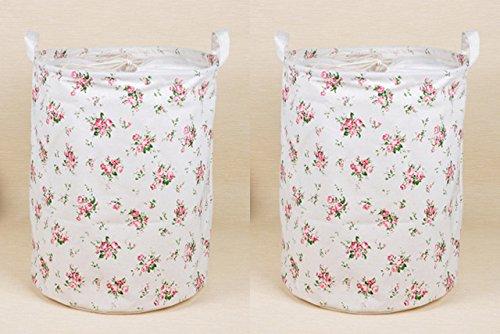 2PCS KingreeTM Canvas Laundry Hamper Round Storage Bin Storage Basket and Organization Container Set of 2 Hamper Flora