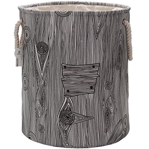 Sea Team 197 Large Size Stylish Tree Stump Wood Grain Canvas Linen Fabric Laundry Hamper Storage Basket with Rope Handles Walnut