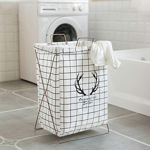FLYSXP Cotton and Linen Dirty Clothes Storage Basket Hamper Laundry Basket Fabric Folding Portable Clothing Toy Bucket 38x28x55cm Laundry Basket