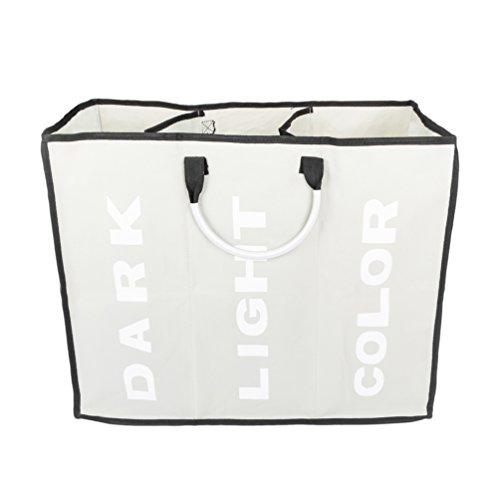 Portable Laundry Basket Hamper Three Lattice Large Capacity Laundry Bags Light Gray
