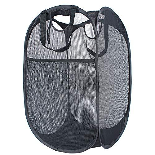 NKTM Pop Up Mesh Laundry Hamper Collapsible Laundry Basket for Dorm Kids Room or Travel Black