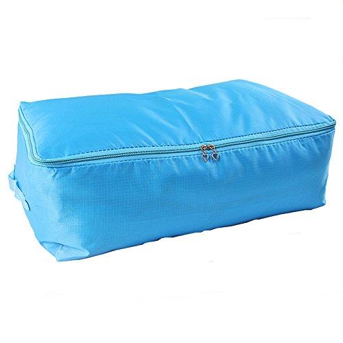 Pack of 2 Extra Large Size Blue-235x195x11-Under Bed Blanket Clothes Storage Bag Bin Zip Closet Organizer