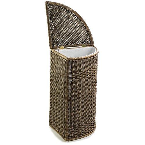 The Basket Lady Corner Wicker Hamper One Size Antique Walnut Brown