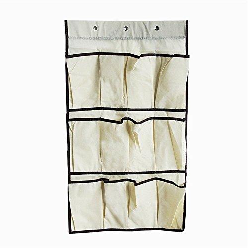Henweit Over Door Wall Hanging Shoe Organizer Space Saving Shoe Rack Storage Wardrobe Closet Organizer 12 Pockets Beige
