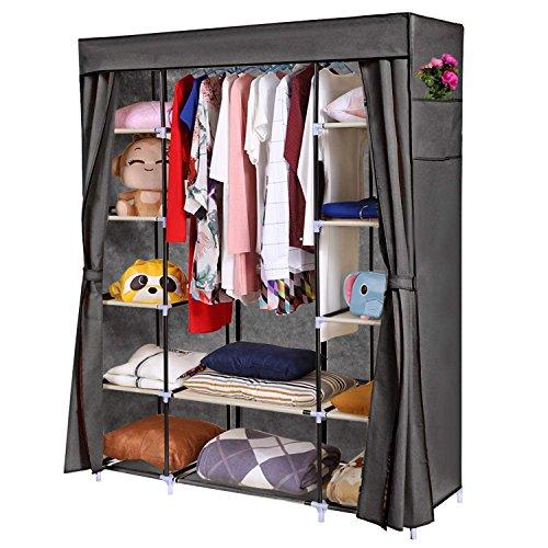 Homdox Portable Storage Organizer Wardrobe Closet Freestanding Clothing Closet