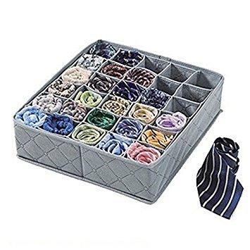 SymWellTM New Portable 30 Cell Bamboo Ties Box Closet Divider Drawer Wardrobe Closet Organizer Storage 30489